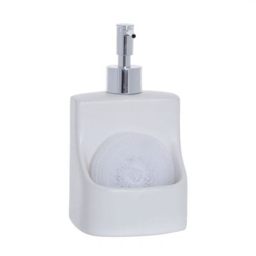 DISPENSADOR JABON CON ESTROPAJO BLANCO